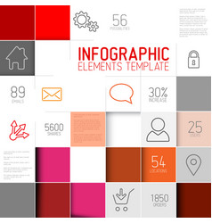 Abstract red squares background infographic vector