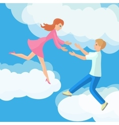 Affection young couple on clouds vector