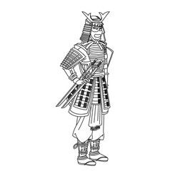 Animation samurai man to ancient clothes wearing vector