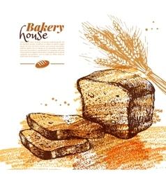 Bakery sketch background Vintage hand drawn vector image vector image
