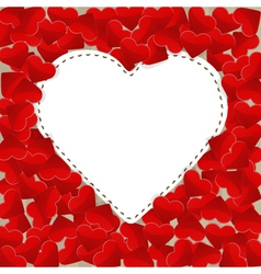 Big white paper heart with small red hearts vector