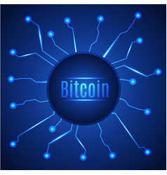 Blue bitcoin digital currency circle banner vector