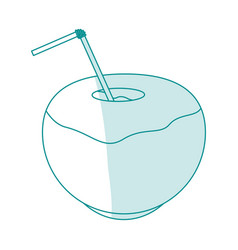 Blue silhouette shading coconut cocktail drink vector