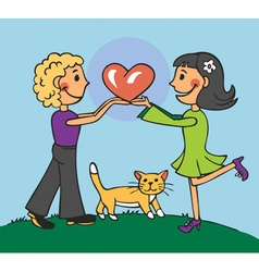 boy and girl holding heart vector image vector image