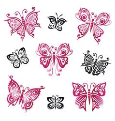 Butterflies summer objects vector image vector image