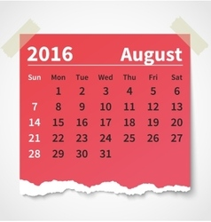 Calendar august 2016 colorful torn paper vector image vector image