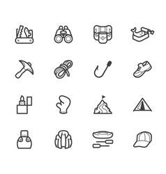 Camping element black icon set vector
