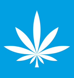 Cannabis leaf icon white vector