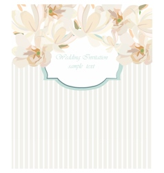 Card watercolor cherry flowers frame vector
