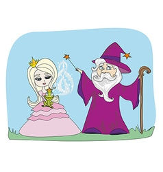 Cartoon of fantasy wizard with magic wand casting vector