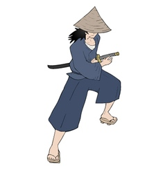 cartoon samurai vector image