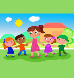 cartoon woman with group of kids vector image vector image