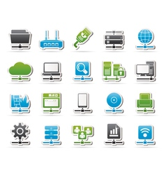 Computer Network and internet icons vector image vector image