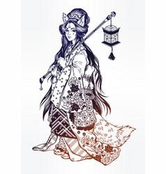 Demon kitsune as geisha ornate kimono lantern vector