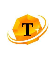 diamond swoosh initial t vector image vector image