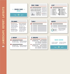 Document Report Layout Templates Mockup Set vector image vector image