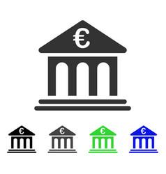 Euro bank flat icon vector