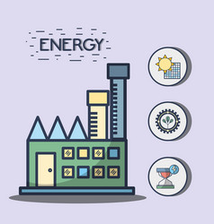 Factory with solar energy and trees hourglass vector