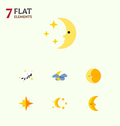 Flat icon night set of asterisk bedtime night vector