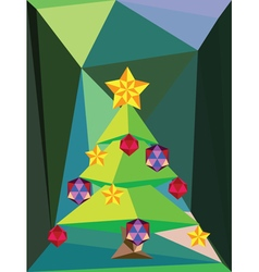 Green Polygonal Christmas Tree3 vector image