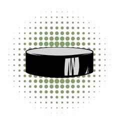 Hockey puck comics icon vector