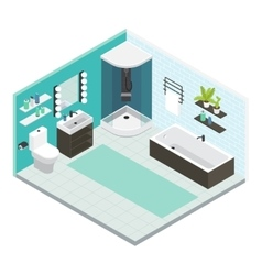 Isometric Interior Bathroom Composition vector image vector image