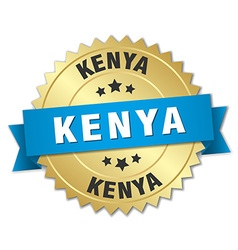 Kenya round golden badge with blue ribbon vector image