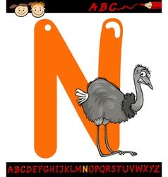 letter n for nandu cartoon vector image vector image