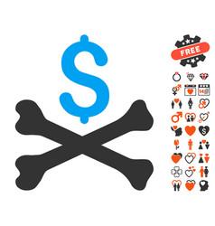 Mortal debt icon with love bonus vector