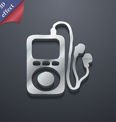 MP3 player headphones music icon symbol 3D style vector image
