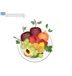 olive apple assyrtiko grapes orange and peaches vector image vector image