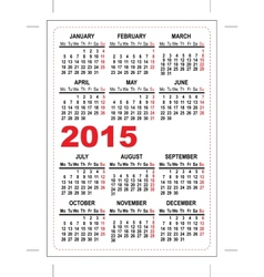Pocket calendar 2015 vector image