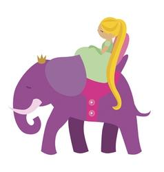 Princess and elephant vector image