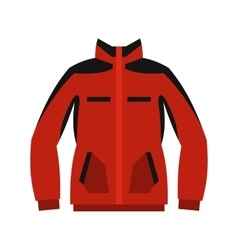 Red sweatshirt with a zipper icon flat style vector