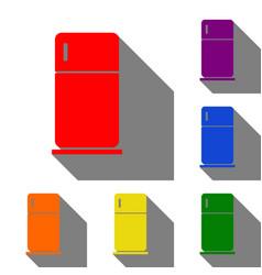 refrigerator sign set of red orange vector image