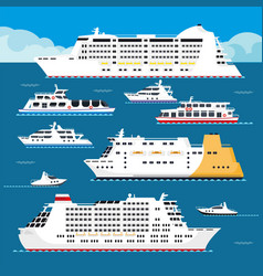 Seagoing vessels of all shapes and sizes set vector