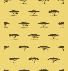 Seamless pattern of acacia tree silhouette vector