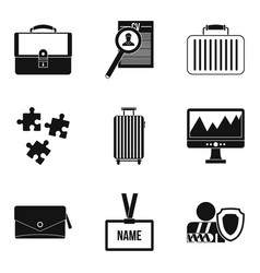 Search employee icons set simple style vector