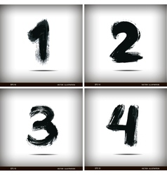 Set of calligraphic watercolor numbers vector image vector image