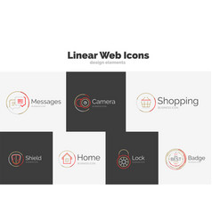 set of web linear icons vector image vector image