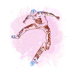 Skateboarder jumping on paint spot with splash in vector