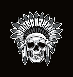 skull of native american indian warrior black vector image vector image