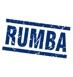 square grunge blue rumba stamp vector image vector image