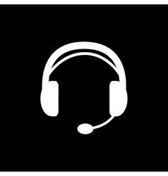 The headset icon support symbol flat vector
