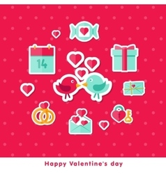 Valentine background with flat elements vector image vector image