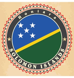 Vintage label cards of Solomon Islands flag vector image vector image
