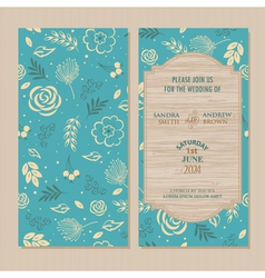 Wedding invitation blue vector
