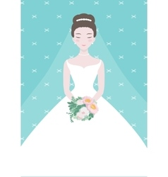 Beautiful bride with a flower bouquet vector