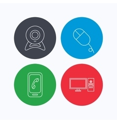Computer web camera and mobile phone icons vector