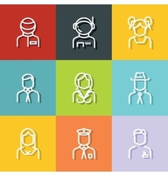 People avatars characters staff vector